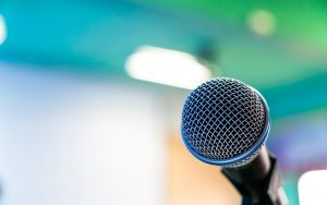 Black microphone in conference room ( Filtered image processed v